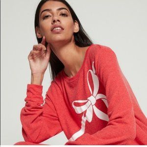Wildfox Sweaters - NWT WILDFOX red cozy bow sweater size small